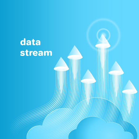 flat vector image on a blue background, data streams consisting of cones and lines, data analysis and processing, cluster system and routing Çizim
