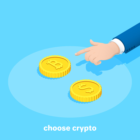 isometric vector image on a blue background, a hand points to a bitcoin coin, and next to it is a coin with a dollar sign, the choice of cryptocurrency