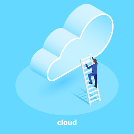 isometric vector image on a blue background, a man in a business suit climbs the cloud on a wooden ladder