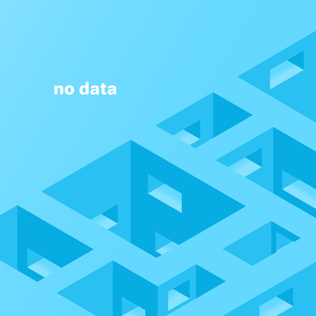 isometric vector image on a blue background, abstract image in the form of empty rooms with apertures, empty spaces in the memory array and data storage