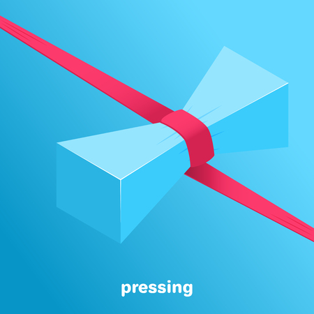 isometric vector image on a blue background, an abstract image in the form of a block that compresses a wide red ribbon
