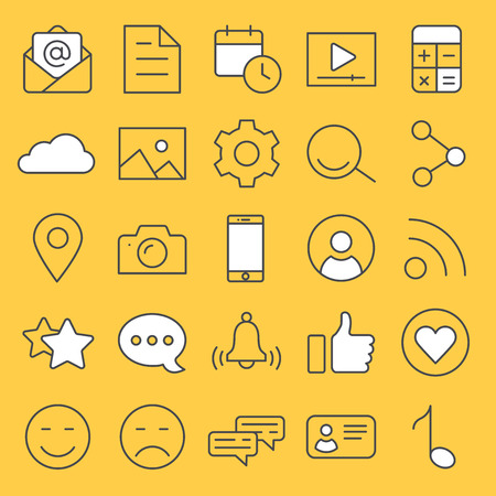 vector linear icons on a yellow background, smartphone and apps, landing page for a web site