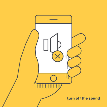 flat vector linear image on yellow background, hand is holding a smartphone and a mute icon.