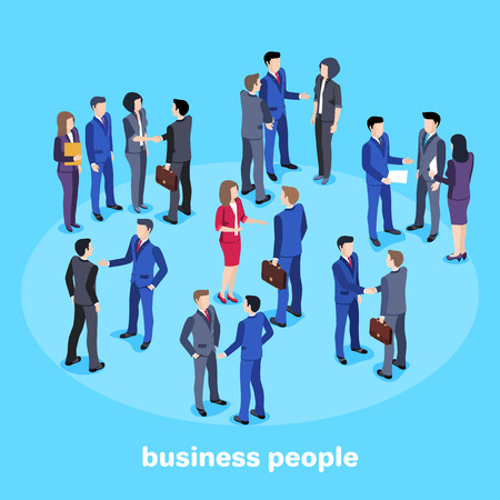 Isometric vector image on a blue background, people in business suits, conversation and business meeting, office workers. Çizim