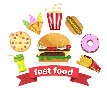 set of flat cartoon fast food icons