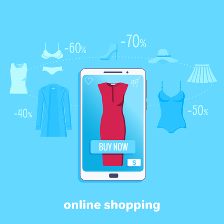 flat vector image on white background, easy and fast online shopping, a woman with a beautiful manicure buys a dress through her smartphone
