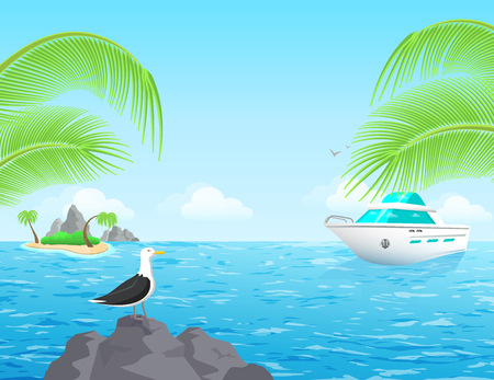 flat vector image, summer holiday on the sea, palm trees and island against the sky, boat and sea bird
