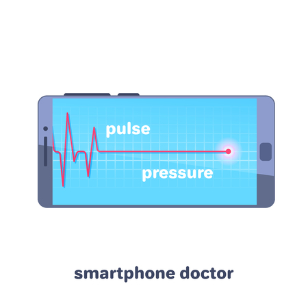 flat vector image on white background, smartphone with pulsatile red line, doctor in smartphone