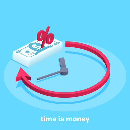 Isometric vector image on a blue background, time and money, stack of money and watches, income with time