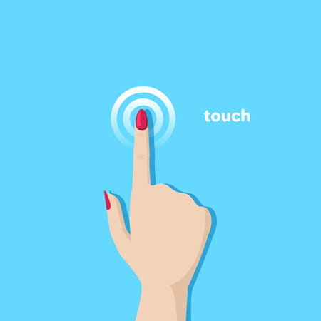 flat vector image on blue background, hand with finger extended, pressing on touch surface