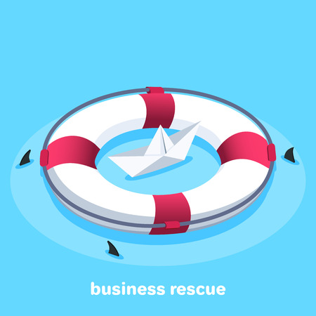 isometric vector image on a bare background, lifebuoy and a paper boat, business protection and rescue  イラスト・ベクター素材