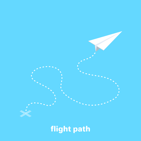 isometric vector image on a golom background, white paper airplane and its flight path dotted line, travel and flight route
