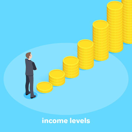 Isometric vector image on a bare background. A man in a business suit is standing out like a rising chart with coins, financial growth, income levels