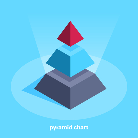 isometric vector image on a bare background, business chart in the form of a pyramid divided into three parts Illustration