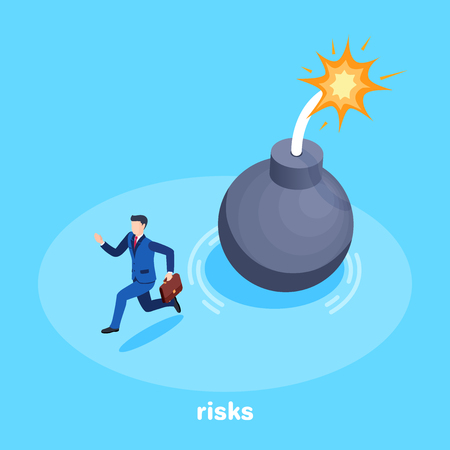 isometric vector image on a background, a man in a business suit with a briefcase runs away from a bomb with a burning beast, risks and threats in business