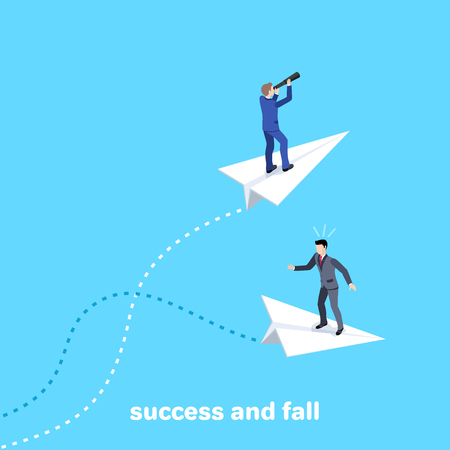 Isometric vector image on golom background, men in business suits fly on paper airplanes, one of them flies successfully and the other falls. Çizim