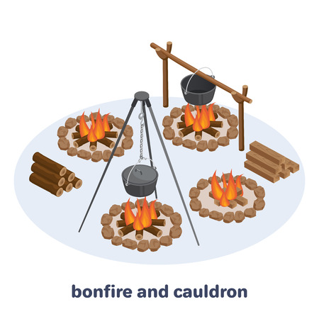 isometric vector image on white background, bonfire with pot on racks, firewood in piles and burning firewood, camping in the forest
