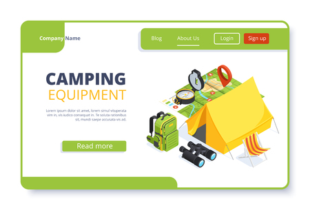 isometric vector image on white background, landing as a landing page for a web site, camping and things for outdoor recreation