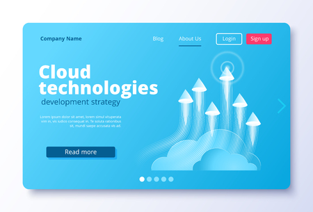 isometric vector image on a white background, landing as a landing page for a web site, arrows coming up from the cloud, the rapid movement of data