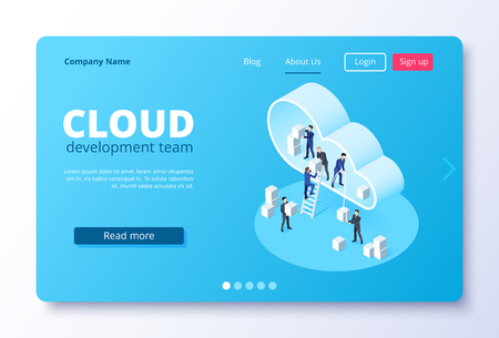 isometric vector image on a white background, landing as a landing page for a web site, people in business suits move blocks in the cloud Çizim