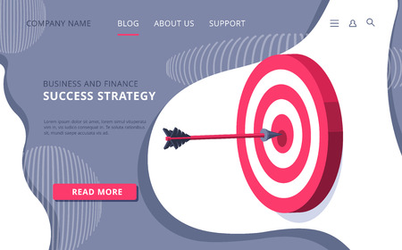 isometric vector image on white background, landing as a landing page for a web site, red target with an arrow sticking out of the center, business success