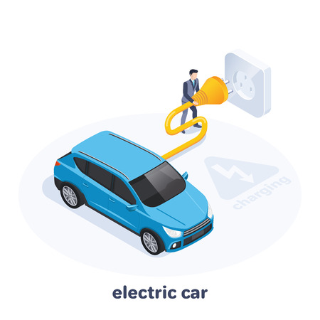 isometric vector image on a white background, a man in a business suit connects his car to the outlet, charging an electric car