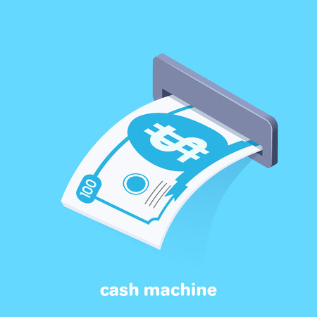 isometric vector image on a blue background, a banknote sticking out of an ATM, getting cash