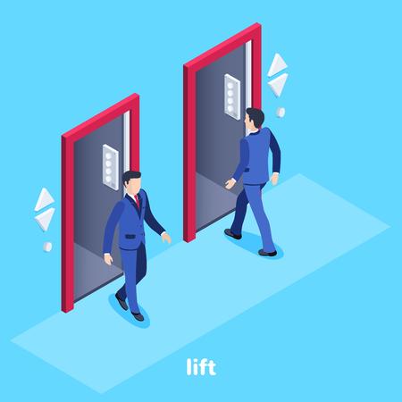 Image vectorielle isométrique sur fond bleu, un homme en costume d'affaires entre dans l'ascenseur et un autre va, un ascenseur dans le bureau Vecteurs