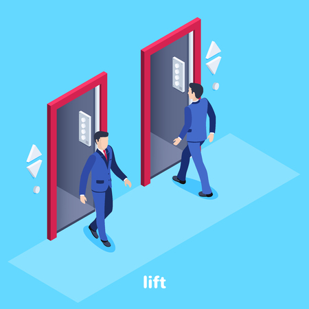 Isometric vector image on a blue background, a man in a business suit enters the elevator and another goes, an elevator in the office