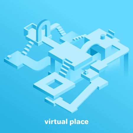 isometric vector image on a blue background, abstract place in the virtual space, the construction of different forms Çizim