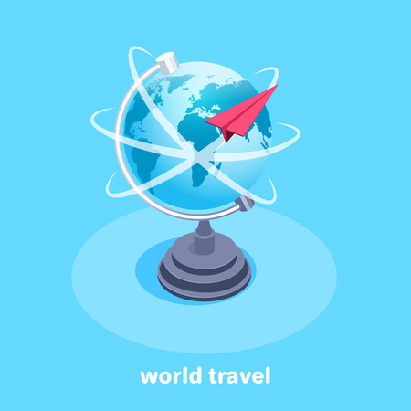 Isometric vector image on a blue background, a large globe icon and a red paper airplane flying around it, tourist destinations for flights.