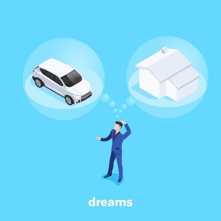 isometric vector image on a blue background, a man in a business suit thinks about buying a car or at home, dreams and doubts