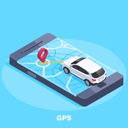 isometric vector image on a blue background, a map of the city on a large smartphone and the location icon to which the car is traveling, GPS navigation