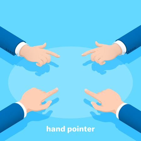 isometric vector image on a blue background, hands of a man in a business suit with the index finger stretched forward, hand pointer Vettoriali