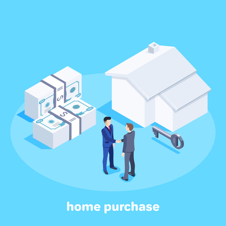 Isometric vector image on a blue background, men in business suits shaking hands after concluding a deal, selling housing or renting