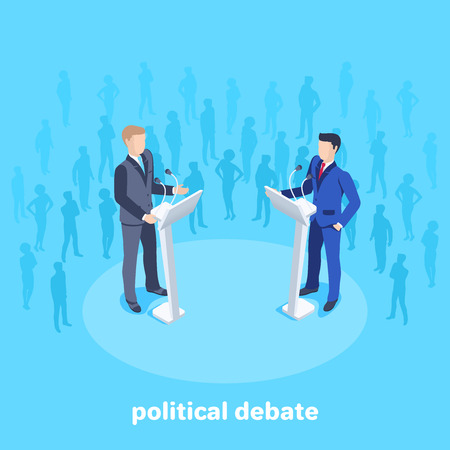 Isometric vector image on a blue background, men in business suits stand in front of a microphone on the stage among the spectators, political debates Çizim