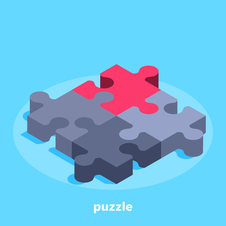 isometric vector image on a blue background, four pieces puzzle, one of which is red, business concept icon