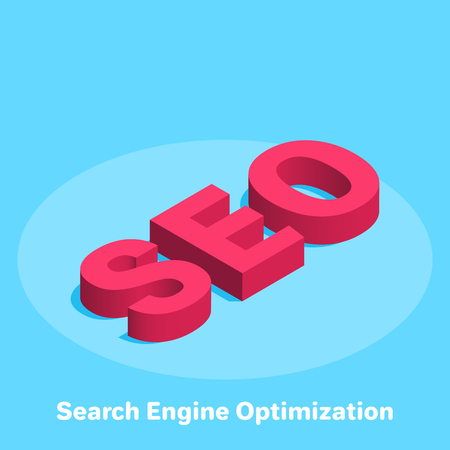 isometric vector image on a blue background, word SEO red, business concept icon, Search Engine Optimization