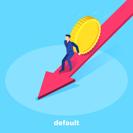 isometric vector image on a blue background, a man in a business suit is trying to keep a falling gold coin along the big red arrow, a business concept on the subject of default Çizim