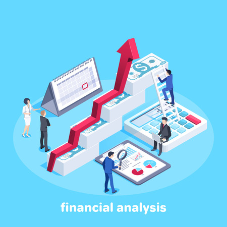 isometric vector image on a blue background, people in business suits and an arrow tending upwards above money piles, calendar and calculator  with documents, work in a team of financial experts Çizim