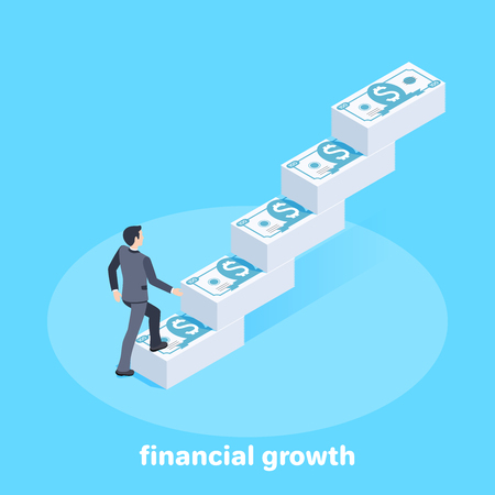 isometric vector image on a blue background, a man in a business suit rises the stairs from piles of money, financial income and growth Çizim