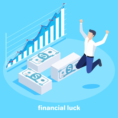Isometric vector image on a blue background, a man in a business suit bounces with joy next to banknotes and a growing chart, big luck in the financial sphere
