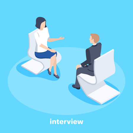 Isometric vector image on a blue background, a man and a woman in a business suit are sitting opposite each other in armchairs and conducting an interview, consultation and business conversation Çizim