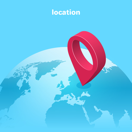 Isometric vector image on a blue background, globe and red location icon, travel and business trip around the world. Çizim