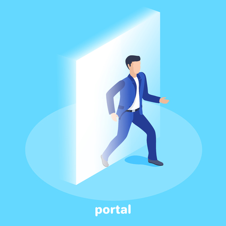 isometric vector image on a blue background, a man in a business suit comes out of a glowing rectangular portal, technology teleportation