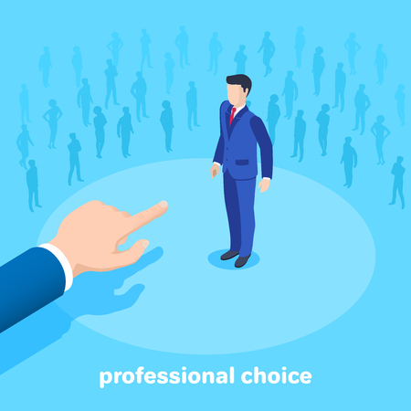 isometric vector image on a blue background, a man in a business suit points the other man, a competitive selection for a job, an appointment to a position Çizim