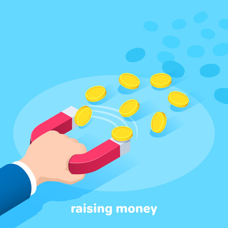 Isometric vector image on a blue background, a man in a business suit holding a big red magnet to which gold coins are flying, attracting finance and increasing income Çizim
