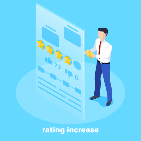 Isometric vector image on a blue background, a man in a business suit holding a rating star in front of a large virtual screen, social networks and virtual marketing.