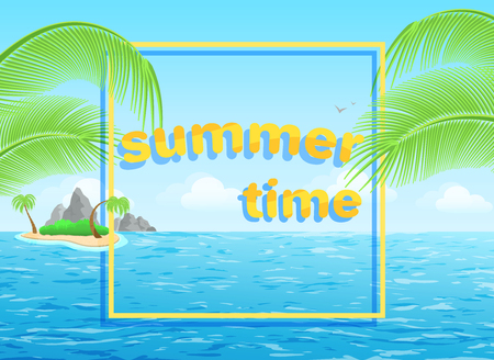 flat vector image on blue background, summer seascape with the words summer time, palm leaves and the sea