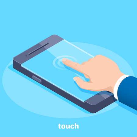 isometric vector image on a blue background, a man in a business suit holds his finger on the screen of a smartphone, touch technology